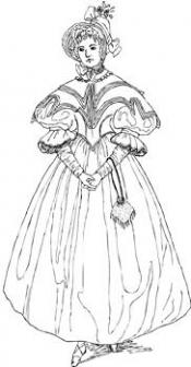 Click to enlarge image Silk Taffeta Dress with Cape and Bonnet - Pattern 91