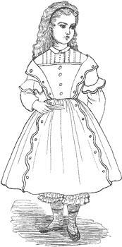 Click to enlarge image 1854 Dress of Fine Muslin that fits American Girl Dolls - Pattern 57